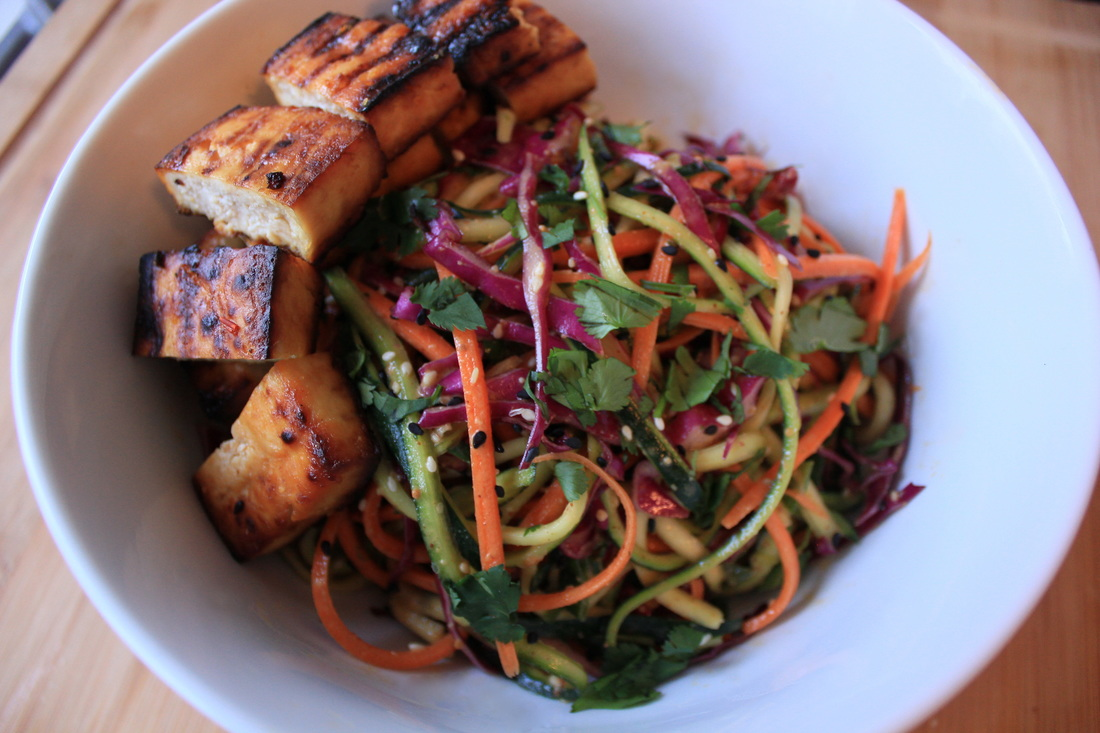 Thai-ish Zucchini Noodle Salad with Crispy Grilled Honey Garlic Tofu
